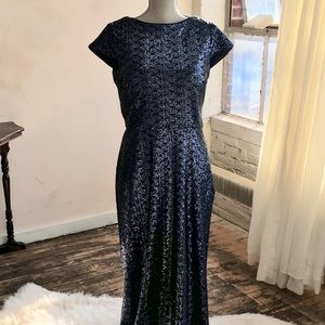 Bill Levkoff Navy Blue Sequined Gown